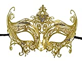 1Bay Women's Crown Filigree Venetian Masquerade Mask With Clear Rhinestones Gold