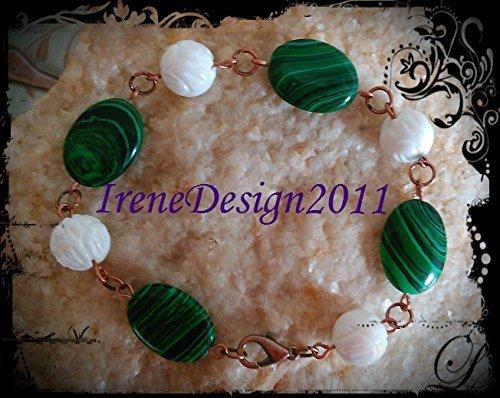 Malachite & Carved Coral Bracelet