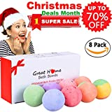 #7: Natural Spa Bath Bombs Lush Quality Gift Set 8 Huge Multi-Colored Rich Bubble Skin Moisturizing Soap Bath Fizzies Pearl Kit Birthday Christmas Gift Idea for Women Men Teens Girls by Great Home