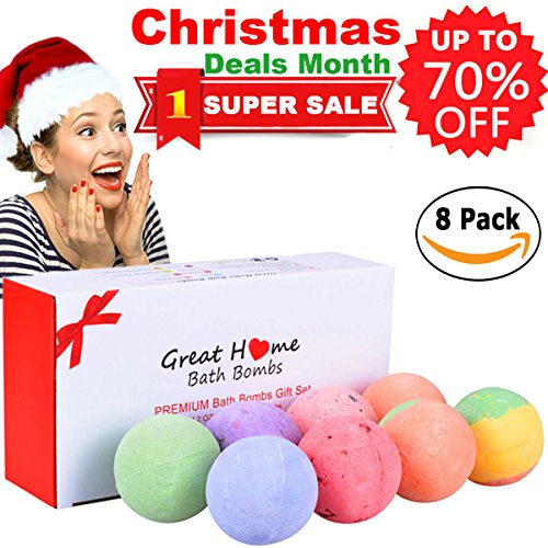 Natural Spa Bath Bombs Lush Quality Gift Set 8 Huge Multi-Colored Rich Bubble Skin Moisturizing Soap Bath Fizzies Pearl Kit Birthday Christmas Gift Idea for Women Men Teens Girls by Great Home (Christmas Bath Ideas)