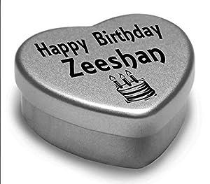 Happy Birthday Zeeshan Mini Heart Tin Gift Present For Zeeshan