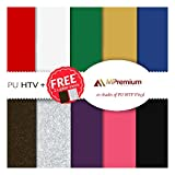 MiPremium PU Heat Transfer Vinyl, HTV Iron On Vinyl, Starter Pack Of 10 Most ...