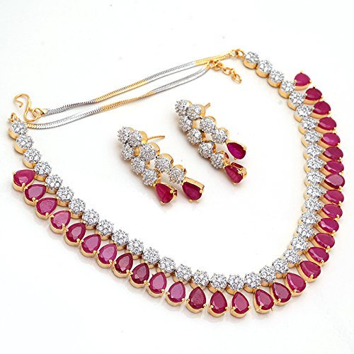 Buy Jewar Mandi Ruby Red Cz Jewellery Set For Girl line at Low