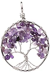 banshren® Alloy Plated Round Eternal Tree of Life with Gravel Charm Pendant Healing DIY Necklace Ornament (No Chain Included)