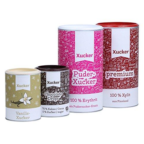 Zuckerfrei Backen mit Xylit und Erythrit - Premium Xylit (Finnland) & Schokodrops, Vanillezucker und Puderzucker