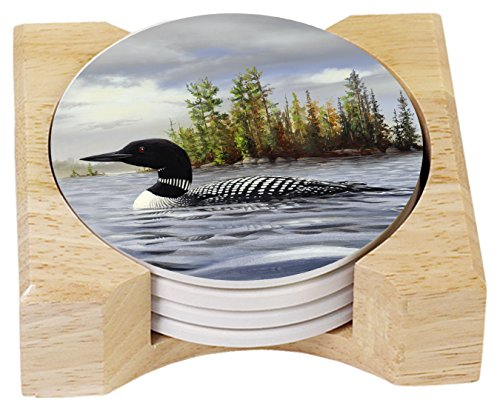CounterArt Absorbent Coasters in Wooden Holder, Loon on Lake, Set of 4