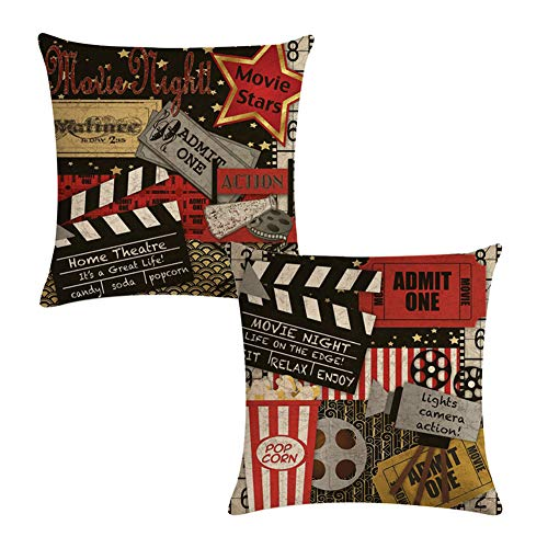 Decroitem Movie Theater Throw Pillow Covers Vintage Cinema Poster Personalized Design Home Decorative Cotton Linen Cushion Cover Pillow Cases 18