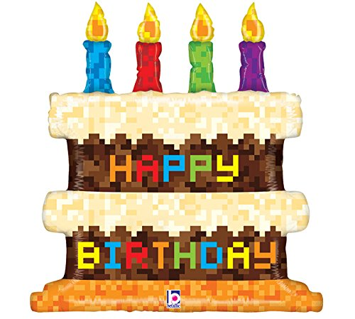KOEHLER Pixel Happy Birthday Cake Shape Toy Foil Balloon, 31