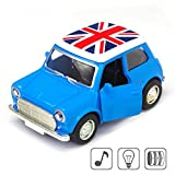 Blue Portable Model Car Toy,BMW MINI Diecast Cars Toy, Pullback with Lights and Sounds Sensory Toys for Kids, Classic Design Style Multi-color