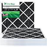 FilterBuy Allergen Odor Eliminator 14x14x1 MERV 8 Pleated AC Furnace Air Filter with Activated Carbon - Pack of 6 - 14x14x1