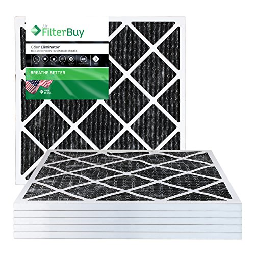 FilterBuy Allergen Odor Eliminator 14x14x1 MERV 8 Pleated AC Furnace Air Filter with Activated Carbon - Pack of 6-14x14x1 by FilterBuy