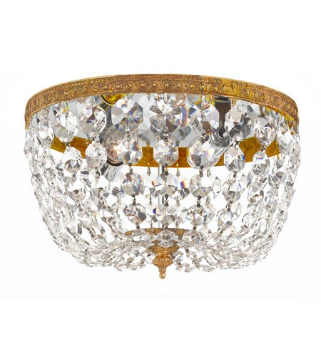 Flush Mounts 2 Light with Olde Brass Clear Spectra Crystal Cast Brass 8 inch 120 Watts - World of - Two Light Cast Cortland
