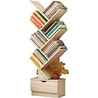 U-HOOME Bookshelf, Tree Bookcase, 7-Tier Bamboo Wood Book Rack, Storage Shelves in Living Room, Free-Standing book shelf…