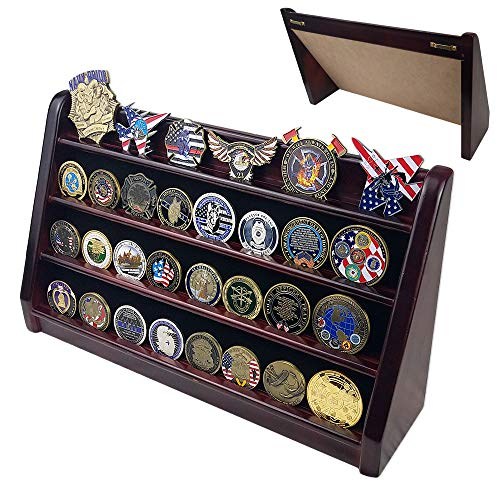 Indeep Military Coin Collectible Holder 4 Row Challenge Coin Display Stand Rack Mahogany Finish