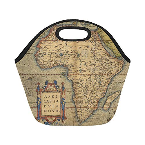 Insulated Neoprene Lunch Bag Antique Map Of Africa By Abraham Ortelius Circa Large Size Reusable Thermal Thick Lunch Tote Bags For Lunch Boxes For Outdoors,work, Office, School