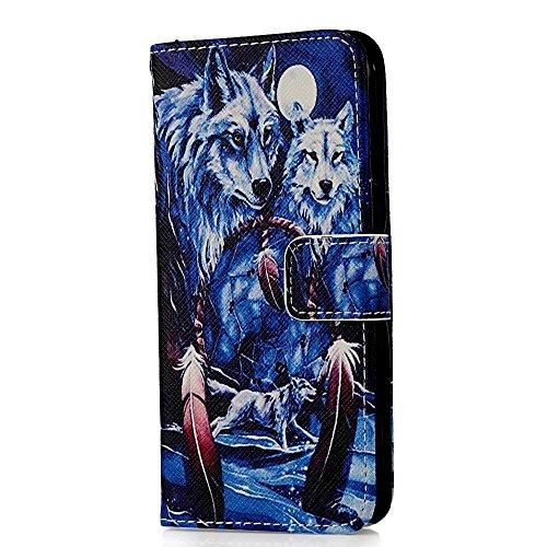 """Flip Case Cover Wallet Folio Schutzhülle für iPhone 6 4.7"""" Zoll Blau Schnee Wolf Schwarz Tasche Ledertasche Hülle Handyhülle Etui Schale Backcover im Bookstyle mit Standfunktion Kredit Kartenfächer"""