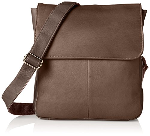 Piel Leather Tablet Cross Body Bag, Chocolate, One Size by Piel Leather
