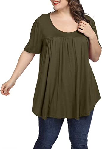 Allegrace Women Plus Size Tops Summer Casual Pleated Flowy Loose Scoop Neck Shirts
