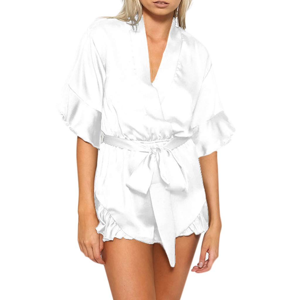 Women's Summer Fashion Faux Satin Chiffon Sexy V-Neck Ruffled Jumpsuit Casual Shorts Playsuit with Belt White