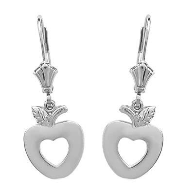 abd3272d9 Image Unavailable. Image not available for. Color: Love Apple Open Heart  Leverback Earrings in Polished 14k White Gold
