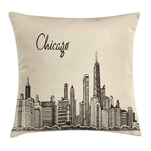 Ambesonne Chicago Skyline Throw Pillow Cushion Cover, Vintage Style Urban Silhouette Country Culture Architecture Capital, Decorative Square Accent Pillow Case, 20