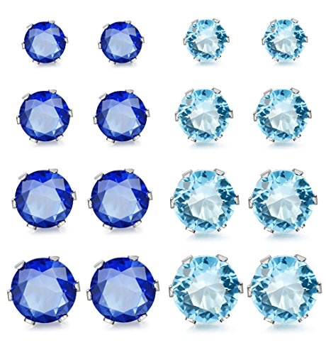 Blue Cubic Zirconia Earrings (ORAZIO 8 Pairs Stainless Steel Mens Womens Stud Earrings Pierced Cubic Zirconia Earrings, 3mm-6mm)