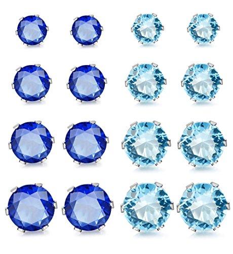 ORAZIO 8 Pairs Stainless Steel Mens Womens Stud Earrings Pierced Cubic Zirconia Earrings, ()