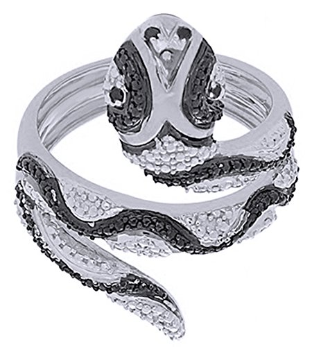 Ring White Snake Gold (Jewel Zone US Black Natural Diamond Accent Snake Ring in 14k White Gold Over Sterling Silver (0.02 Ct))