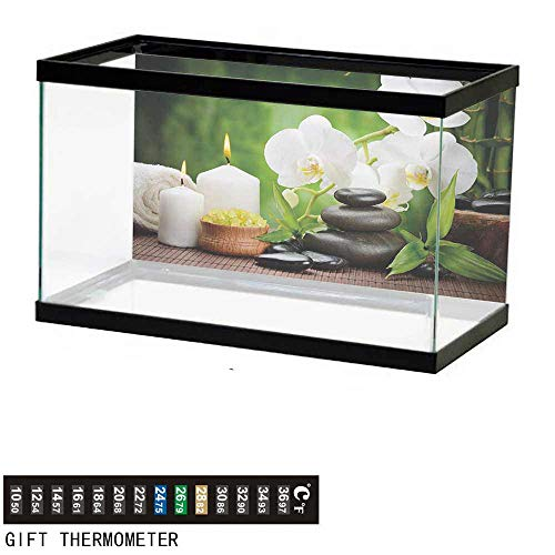 wwwhsl Aquarium Background,Spa,Zen Stones with Orchid and Candles Green Plants at The Background Print,White Green and Black Fish Tank Backdrop 24