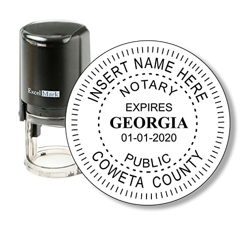 - Round Notary Stamp for State of Georgia - Self Inking Stamp - Features The ExcelMark Double Sided Ink Pad for Longer Product Life