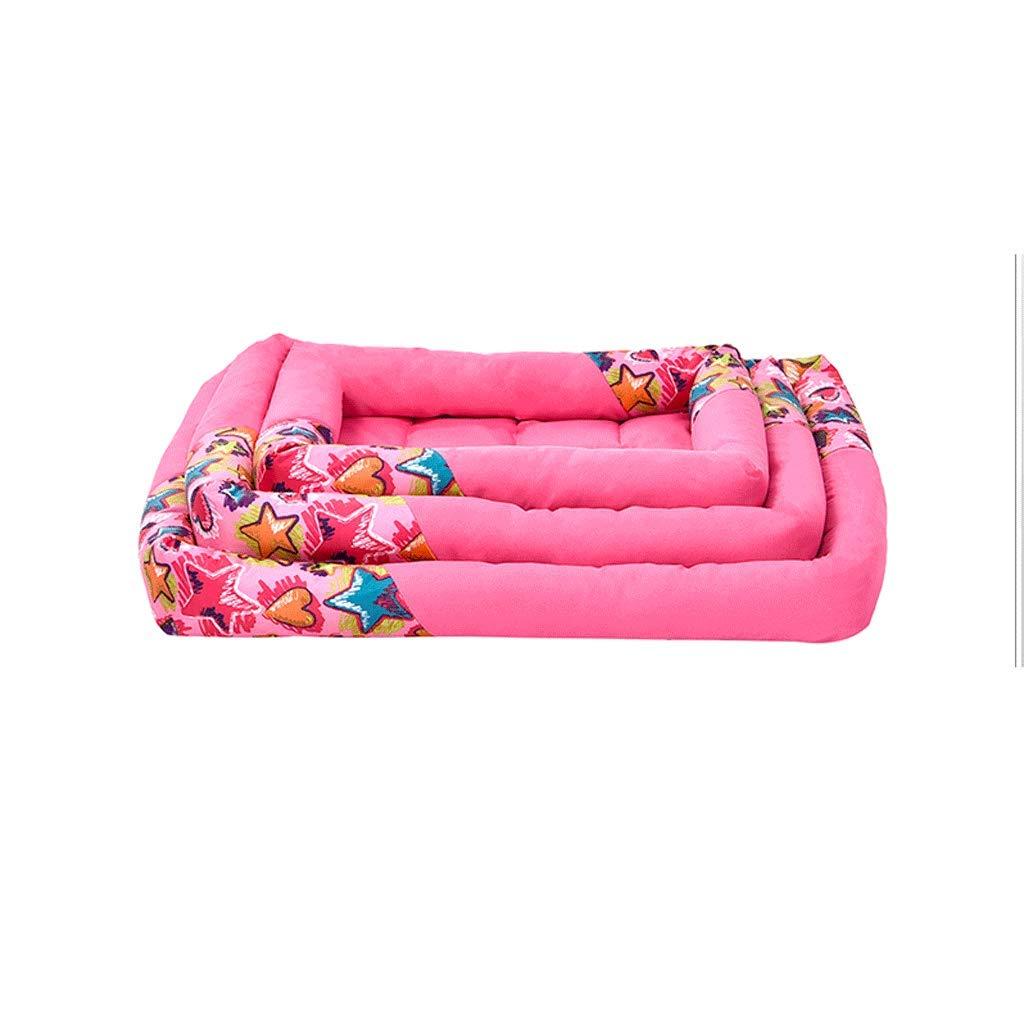 PINK M (53X44X7.5CM) PINK M (53X44X7.5CM) Pet Bed Polypropylene Staple Fiber Square Pet Pad Oxford Cloth Comfortable Breathable Teddy Law Dog Mat Cat Pad A+ (color   Pink, Size   M (53X44X7.5CM))