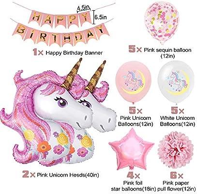 SPECOOL Unicornio Decoración de cumpleaños para niña, Rosa Feliz cumpleaños Conjunto de pancartas Unicornio Papel de Aluminio Globo Látex Confeti ...