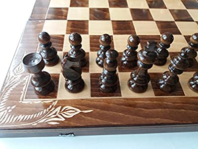 New big handmade wooden chess set, hazel wood handspindled chess pieces,flower handcarved chessboard box,wooden chess set, board games, backgammon,checkers,draughts, fun toy, educational game