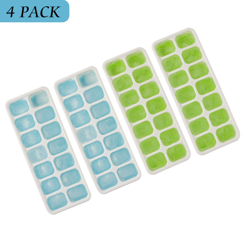 Silicone Ice Cube Tray with PP Lid, Easy-Release Silicone and Durable 14-Ice Cube Trays, Food Grade Ice Cube Tray with FDA and LFGB Certification (4 Packs)