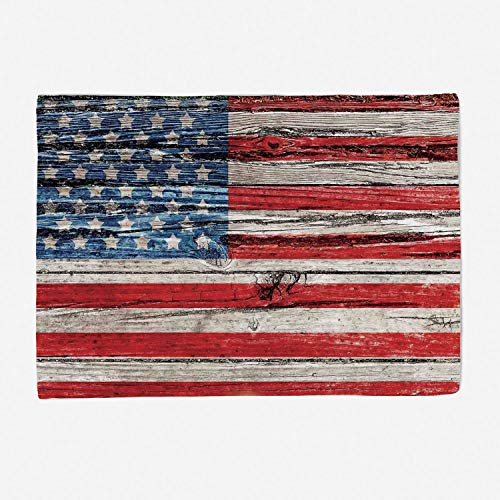 Soft Beautiful Throw Blanket Custom Design Cozy Fleece Blanket Perfect for Couch Sofa or Bed/59x49 inches/Rustic American USA Flag,Fourth of July Independence Day Painted Wooden panel Wall Looking Ima