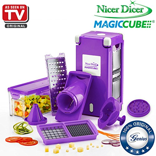 Nicer Dicer Magic Cube by Genius | 13 pieces | Fruit and vegetable slicer | As seen on TV (Purple)