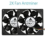 Nacome 6000RPM/7000RPM Cooling Fan Replacement 4-pin Connector For Antminer Bitmain S7 S9 (2X6000RPM)