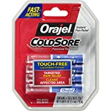 Orajel Touch-Free Cold Sore Patented Treatment, with Applicator, 0.08oz, 4 Vials