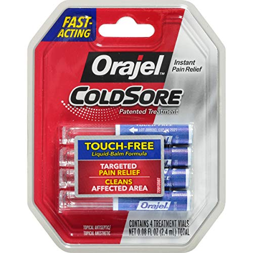 Orajel Touch-Free Cold Sore Patented Treatment, with Applicator, 0.08oz, 4 Vials (Best Treatment For Cold Sores On Lips)