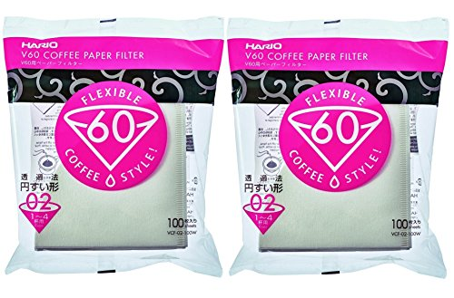 Hario V60 Paper Coffee Filters Size 02, White, Tabbed, 200-count, ()