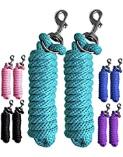 Majestic Ally Pack of 2 Solid Poly Lead Rope for Horses & Livestock – 10 Foot Long and 5/8 inch Thick - Replaceable Heavy-Duty Bolt Snap – Handmade – Soft, Broken in Feel (Turquoise)