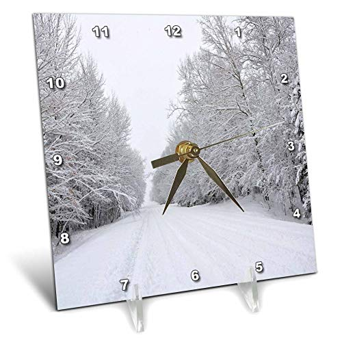 3dRose Dreamscapes by Leslie - Scenery - Country Road After a Snow Storm - 6x6 Desk Clock (dc_292250_1) by 3dRose (Image #1)
