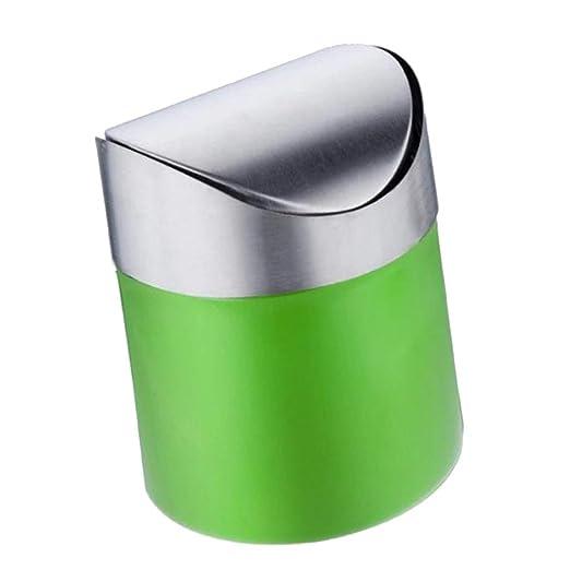 Mini Papelera Creativa con Tapa de acero inoxidable, Cubo de ...