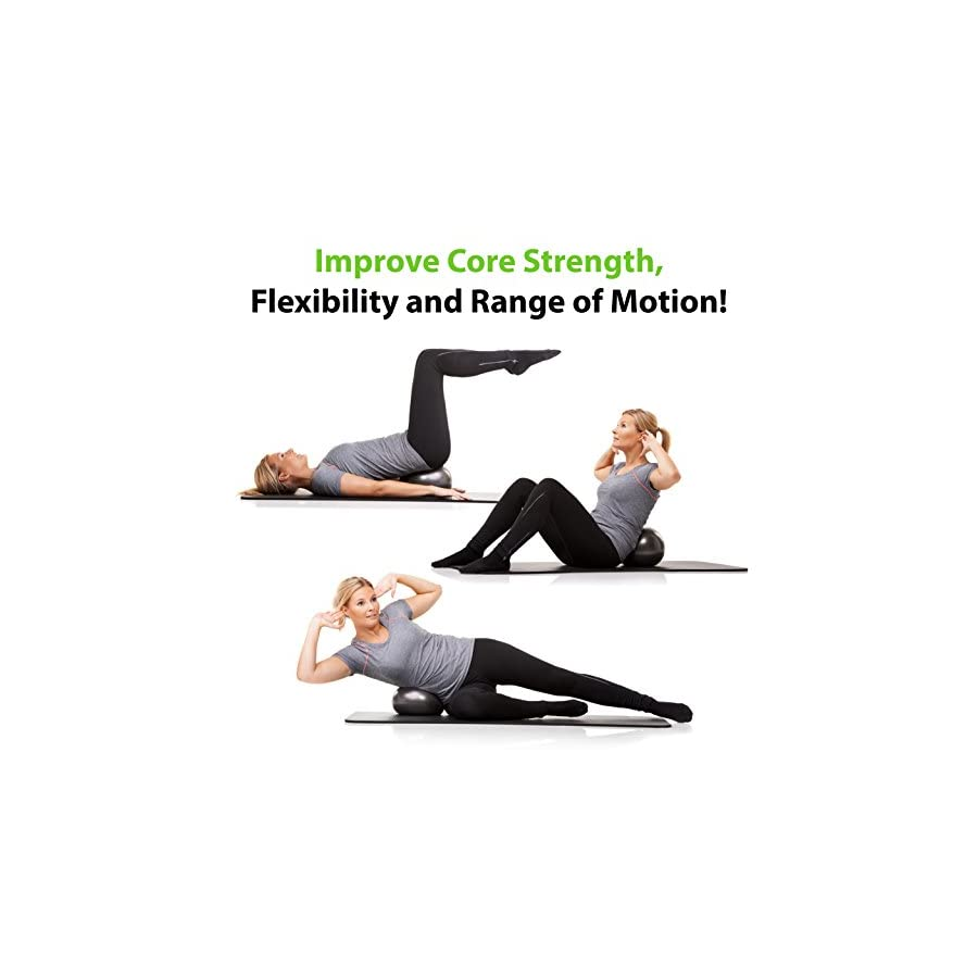 Mini Pilates Ball Small Exercise Ball for Yoga, Pilates, Barre, Physical Therapy, Stretching and Core Fitness Includes Mini Stability Ball Workout Guide