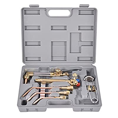 Goplus 10 PCS Oxygen & Acetylene Welding & Cutting Torch Kit Welder Tool Set w/ Case