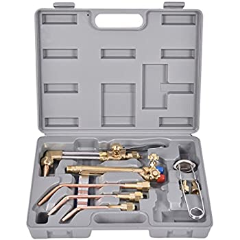 Goplus 10PCS Oxygen & Acetylene Torch Kit Welding & Cutting Gas Welder Tool Set w/Case