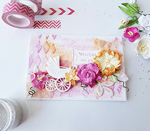 Handmade Paper Greeting Cards, Girl New Baby Congratulations Card Gift, Style Shabby Chic Flowers, Pink - Finder Orange Shop