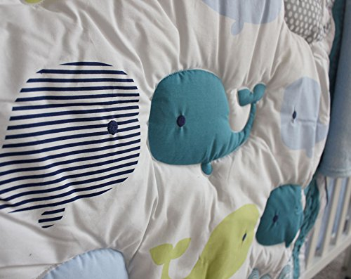 NAUGHTYBOSS Baby Bedding Set Cotton 3D Embroidery Ocean Whale Quilt Bumper Mattress Cover Blanket 8 Pieces Ocean Blue by NAUGHTYBOSS (Image #5)
