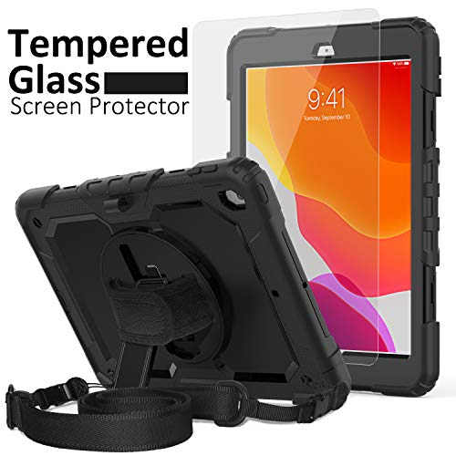 iPad 7th Generation Case, iPad 10.2 Case 2019, [Kid Proof] ambison Full Body Protective Case with 9H Tempered Glass Screen Protector, 360° Rotatable Kickstand & Hand Strap, Shoulder Strap (Black)