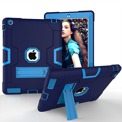 iPad 4 Case,iPad 3 Case,iPad 2 Case, KMISS Heavy Duty with Kickstand Shockproof High Impact Resistant Hybrid Full Body Protective Case Cover for Apple iPad 2/3/4th Gen (Navy+Blue)